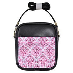 Damask1 White Marble & Pink Marble (r) Girls Sling Bags by trendistuff