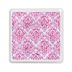 Damask1 White Marble & Pink Marble (r) Memory Card Reader (square)  by trendistuff