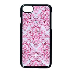 Damask1 White Marble & Pink Marble (r) Apple Iphone 8 Seamless Case (black) by trendistuff
