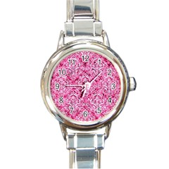 Damask1 White Marble & Pink Marble Round Italian Charm Watch by trendistuff