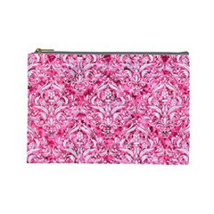 Damask1 White Marble & Pink Marble Cosmetic Bag (large)  by trendistuff