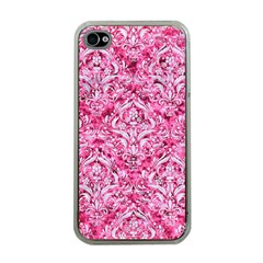 Damask1 White Marble & Pink Marble Apple Iphone 4 Case (clear) by trendistuff