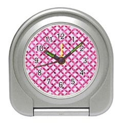 Circles3 White Marble & Pink Marble (r) Travel Alarm Clocks by trendistuff