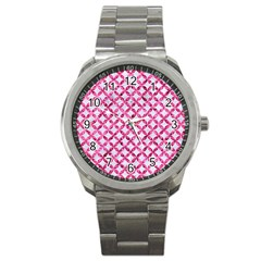 Circles3 White Marble & Pink Marble (r) Sport Metal Watch