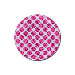 Circles2 White Marble & Pink Marble (r) Rubber Round Coaster (4 Pack)  by trendistuff