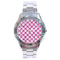 Circles2 White Marble & Pink Marble Stainless Steel Analogue Watch by trendistuff