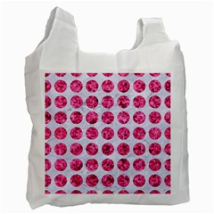 Circles1 White Marble & Pink Marble (r) Recycle Bag (two Side)  by trendistuff