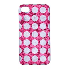 Circles1 White Marble & Pink Marble Apple Iphone 4/4s Hardshell Case With Stand by trendistuff