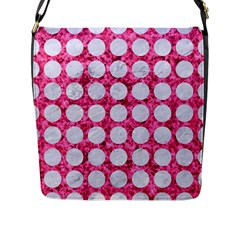 Circles1 White Marble & Pink Marble Flap Messenger Bag (l)  by trendistuff