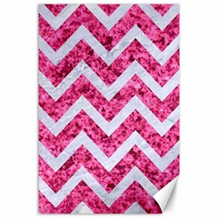 Chevron9 White Marble & Pink Marble Canvas 24  X 36  by trendistuff