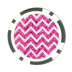Chevron9 White Marble & Pink Marble Poker Chip Card Guard by trendistuff