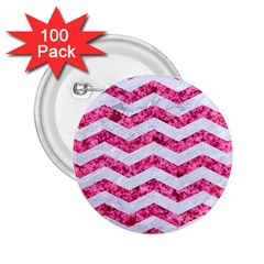 Chevron3 White Marble & Pink Marble 2 25  Buttons (100 Pack)