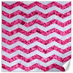 Chevron3 White Marble & Pink Marble Canvas 12  X 12   by trendistuff