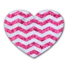 Chevron3 White Marble & Pink Marble Heart Mousepads by trendistuff