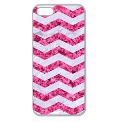 Chevron3 White Marble & Pink Marble Apple Seamless Iphone 5 Case (clear) by trendistuff