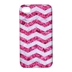 Chevron3 White Marble & Pink Marble Apple Iphone 4/4s Hardshell Case With Stand by trendistuff