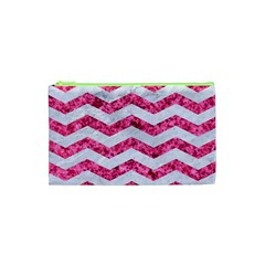 Chevron3 White Marble & Pink Marble Cosmetic Bag (xs) by trendistuff