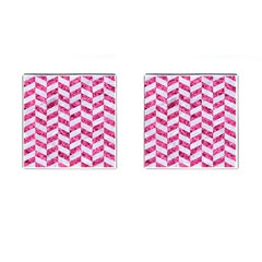 Chevron1 White Marble & Pink Marble Cufflinks (square) by trendistuff