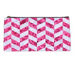 Chevron1 White Marble & Pink Marble Pencil Cases by trendistuff