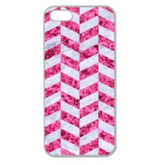 Chevron1 White Marble & Pink Marble Apple Seamless Iphone 5 Case (clear) by trendistuff