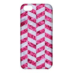 Chevron1 White Marble & Pink Marble Apple Iphone 5c Hardshell Case by trendistuff