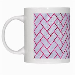 Brick2 White Marble & Pink Marble (r) White Mugs by trendistuff