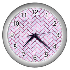 Brick2 White Marble & Pink Marble (r) Wall Clocks (silver)  by trendistuff