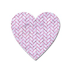 Brick2 White Marble & Pink Marble (r) Heart Magnet