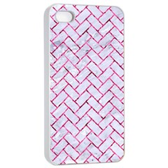 Brick2 White Marble & Pink Marble (r) Apple Iphone 4/4s Seamless Case (white) by trendistuff