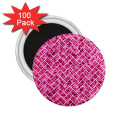 Brick2 White Marble & Pink Marble 2 25  Magnets (100 Pack)  by trendistuff
