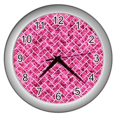 Brick2 White Marble & Pink Marble Wall Clocks (silver)  by trendistuff