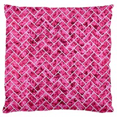 Brick2 White Marble & Pink Marble Standard Flano Cushion Case (one Side) by trendistuff