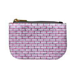 Brick1 White Marble & Pink Marble (r) Mini Coin Purses