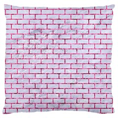 Brick1 White Marble & Pink Marble (r) Large Cushion Case (one Side) by trendistuff