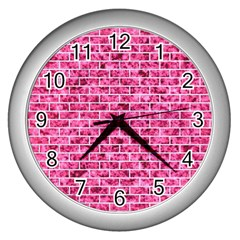 Brick1 White Marble & Pink Marble Wall Clocks (silver)  by trendistuff