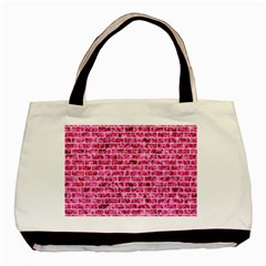 Brick1 White Marble & Pink Marble Basic Tote Bag (two Sides) by trendistuff
