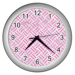 Woven2 White Marble & Pink Watercolor (r) Wall Clocks (silver)  by trendistuff