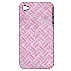 Woven2 White Marble & Pink Watercolor (r) Apple Iphone 4/4s Hardshell Case (pc+silicone) by trendistuff