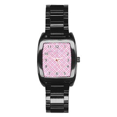 Woven2 White Marble & Pink Watercolor (r) Stainless Steel Barrel Watch by trendistuff