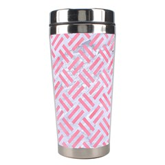 Woven2 White Marble & Pink Watercolor (r) Stainless Steel Travel Tumblers by trendistuff
