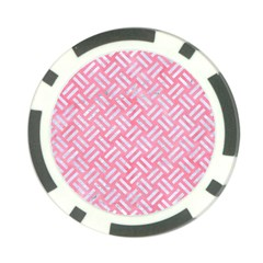 Woven2 White Marble & Pink Watercolor Poker Chip Card Guard (10 Pack) by trendistuff