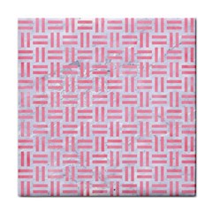 Woven1 White Marble & Pink Watercolor (r) Tile Coasters by trendistuff
