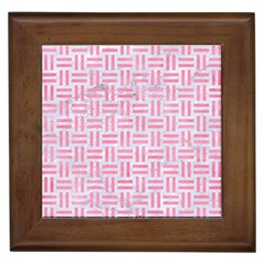 Woven1 White Marble & Pink Watercolor (r) Framed Tiles by trendistuff