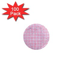 Woven1 White Marble & Pink Watercolor (r) 1  Mini Magnets (100 Pack)