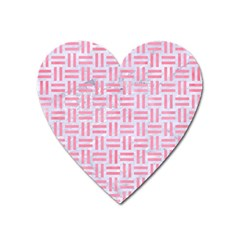 Woven1 White Marble & Pink Watercolor (r) Heart Magnet