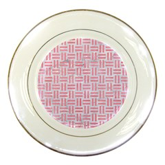 Woven1 White Marble & Pink Watercolor (r) Porcelain Plates by trendistuff