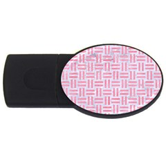 Woven1 White Marble & Pink Watercolor (r) Usb Flash Drive Oval (4 Gb) by trendistuff