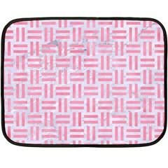 Woven1 White Marble & Pink Watercolor (r) Double Sided Fleece Blanket (mini)  by trendistuff
