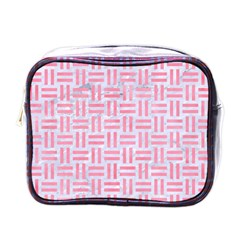 Woven1 White Marble & Pink Watercolor (r) Mini Toiletries Bags by trendistuff