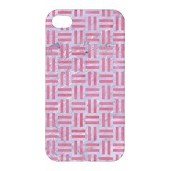 Woven1 White Marble & Pink Watercolor (r) Apple Iphone 4/4s Hardshell Case by trendistuff